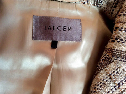 Jaeger Beige & Brown Stripe Jacket Size 18 - Whispers Dress Agency - Womens Coats & Jackets - 2