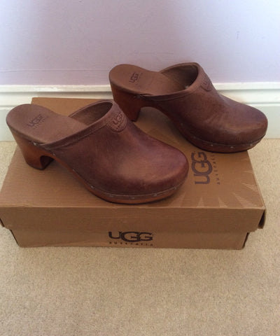 NEW IN BOX UGG LIGHT CHOCOLATE ABBIE CLOGS SIZE 3.5/36 - Whispers Dress Agency - Womens Mules & Flip Flops - 4