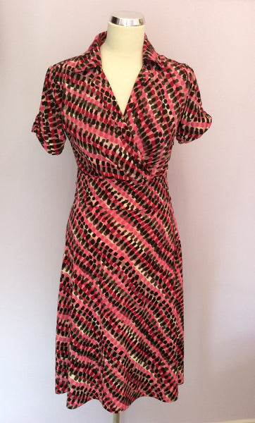 Betty Jackson Pink & Black Print Dress Size 8 - Whispers Dress Agency - Womens Dresses - 1
