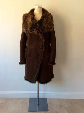 JOSEPH DARK BROWN LAMBSKIN COAT SIZE 40 UK 12 - Whispers Dress Agency - Womens Coats & Jackets - 1