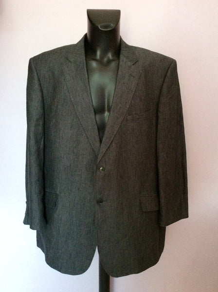 AUSTIN REED DARK GREY LINEN SUIT JACKET SIZE 50R - Whispers Dress Agency - Sold - 1