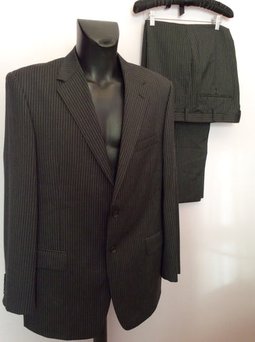Marks & Spencer Autograph By Timothy Everast Dark Grey Pinstripe Wool Suit Size 44L/40W - Whispers Dress Agency - Mens Suits & Tailoring - 1
