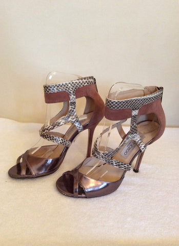 Jimmy Choo Bronze,Snakeskin & Dusky Pink Leather & Suede Sandals Size 4.5/37.5 - Whispers Dress Agency - Sold - 3