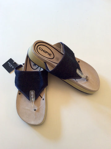 BRAND NEW CHIPIE DARK BLUE DENIM TOE POST FLIP FLOPS SIZE 7.5/41 - Whispers Dress Agency - Mens Sandals & Beach - 1