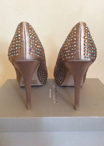 Brand New Carvela Nude Satin Jewel Trim Peeptoe Heels Size 6/39 - Whispers Dress Agency - Womens Heels - 3