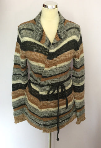 OUI MOMENTS TAN,CREAM & GREY STRIPE WOOL CARDIGAN SIZE S - Whispers Dress Agency - Womens Knitwear - 1