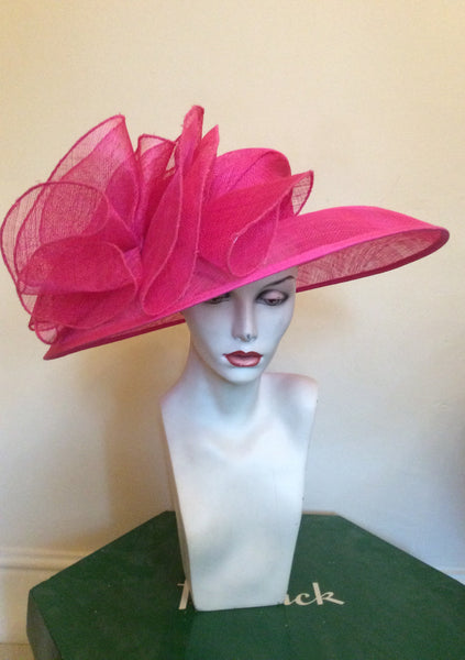 Brand New Fenwick Bright Pink Wide Brim Formal Hat - Whispers Dress Agency - Sold - 1