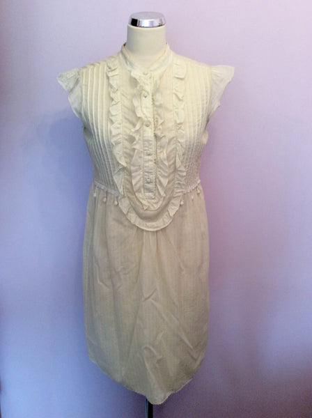Juicy Couture Cream & Green Pinstripe Cotton Dress Size 10 - Whispers Dress Agency - Womens Dresses - 1