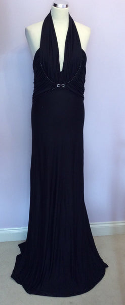 Renato Nucci Black Jewel Trim Evening Dress Size 42 UK 14 - Whispers Dress Agency - Sold - 1