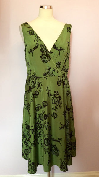 Great Plains Green & Black Floral Print Dress Size L - Whispers Dress Agency - Womens Dresses - 1