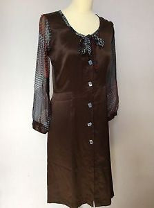 Garden Party Brown Pure Silk Dress Size L (Approx. Uk 12) - Whispers Dress Agency - Sold - 1