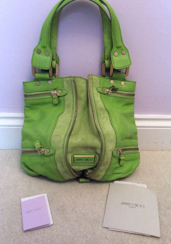 Jimmy Choo Neon Green Leather / Suede Mona Bag - Whispers Dress Agency - Sold - 1