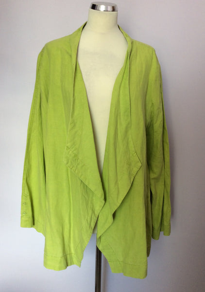 Ann Harvey Lime Green Linen & Cotton Jacket Size 24 - Whispers Dress Agency - Sold - 1