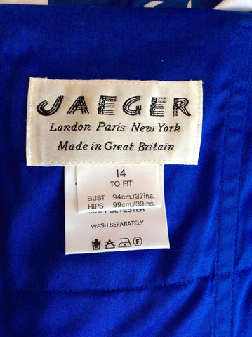 VINTAGE JAEGER BLUE & WHITE PRINT STRAPLESS COTTON DRESS SIZE UK 10/12 - Whispers Dress Agency - Womens Vintage - 4