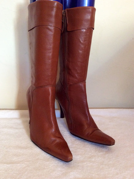 Logo 69 Tan Brown Leather Calf Length Boots Size 5/38 - Whispers Dress Agency - Womens Boots - 1