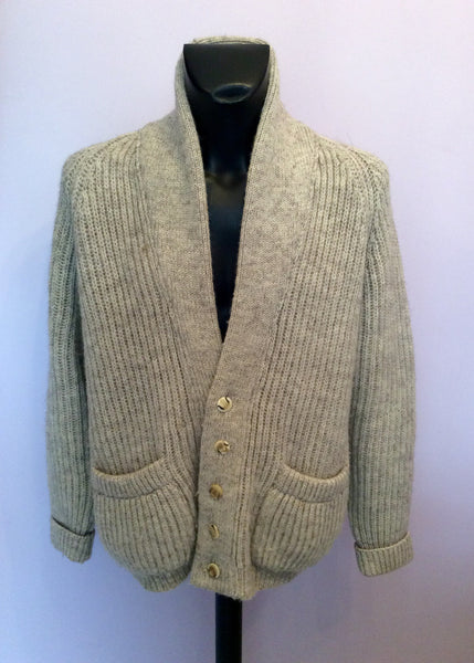 Black Sheep Oatmeal Pure Natural Oiled Wool Cardigan Size L - Whispers Dress Agency - Sold - 1