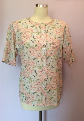 Vintage Jaeger Pale Pink, Blue & Green Floral Print Blouse & Skirt Size 10 - Whispers Dress Agency - Womens Vintage - 2