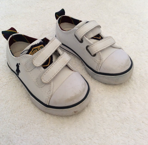 Ralph Lauren Polo Infant White Leather Shoes Size 4.5/21 - Whispers Dress Agency - Baby - 1