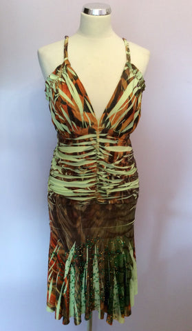 Kasike Green & Brown Print Strappy Dress One Size - Whispers Dress Agency - Womens Dresses - 3