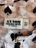 Alice Temperley Pale Pink, Grey & Black Spade Print Smock Top Size 10 - Whispers Dress Agency - Womens Tops - 5