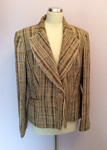 Jaeger Beige & Brown Stripe Jacket Size 18 - Whispers Dress Agency - Womens Coats & Jackets - 1