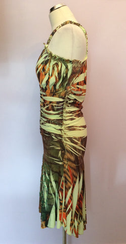 Kasike Green & Brown Print Strappy Dress One Size - Whispers Dress Agency - Womens Dresses - 1
