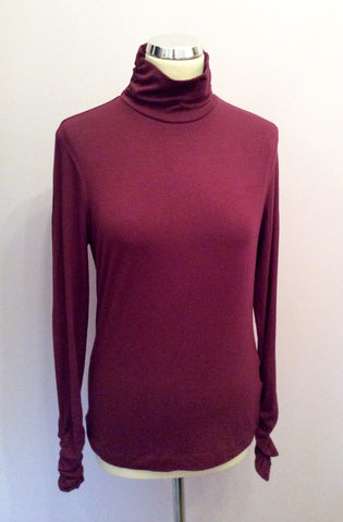 MYBC BURGUNDY STRETCH JERSEY POLO NECK TOP SIZE 12 - Whispers Dress Agency - Womens Tops - 1
