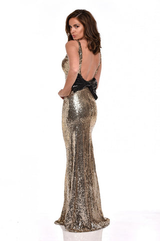 NAZZ COLLECTION GOLD SEQUINED WITH BLACK BOW LONG EVENING DRESS SIZE 12 - Whispers Dress Agency - Sold - 2