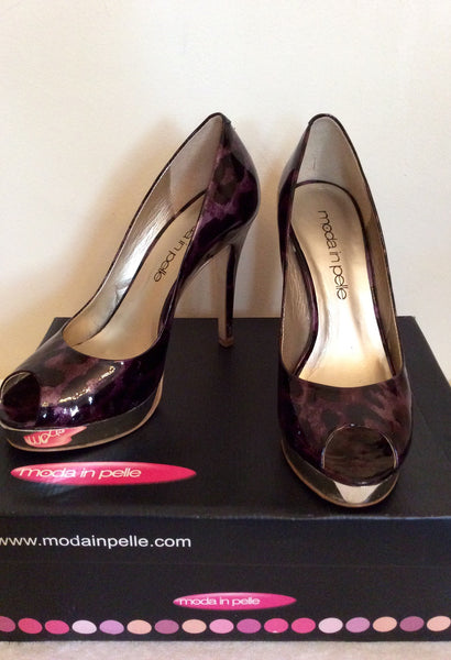 Moda In Pelle Purple Leopard Print Peeptoe Heels Size 6/39 - Whispers Dress Agency - Womens Heels - 1