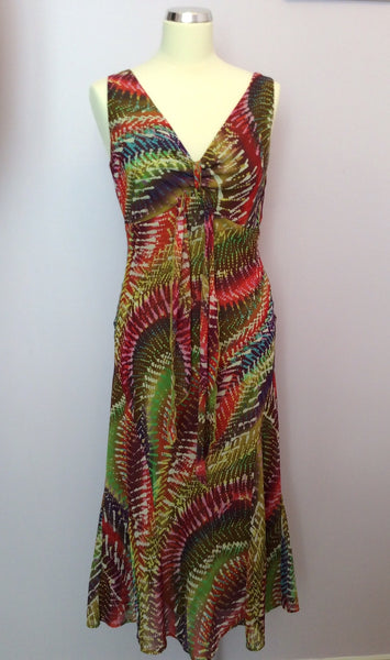Per Una Multicoloured Print V Neckline Dress Size 10 Long - Whispers Dress Agency - Sold - 1