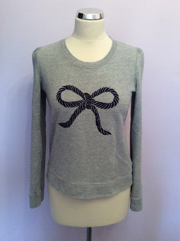 Whistles Light Grey Embroidered Bow Sweatshirt Size 10 - Whispers Dress Agency - Womens Activewear - 1
