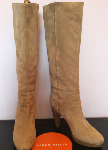 Karen Millen Camel Suede Knee Length Boots Size 7/40 - Whispers Dress Agency - Womens Boots - 1