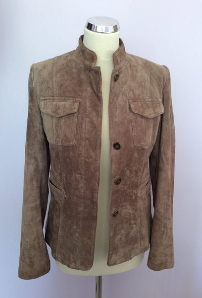 Laura Ashley Light Brown Suede Jacket Size 10 - Whispers Dress Agency - Sold - 1