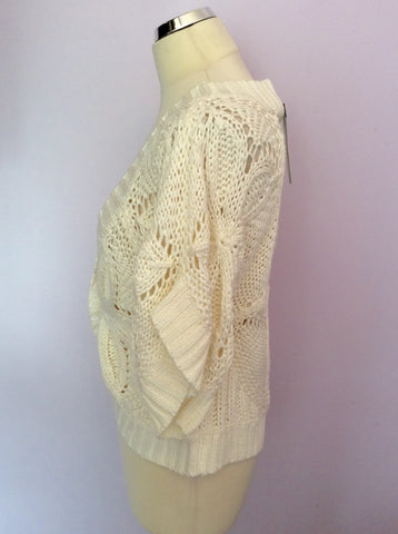 Brand New Mint Velvet White Short Sleeve Cardigan Size M - Whispers Dress Agency - Womens Knitwear - 2