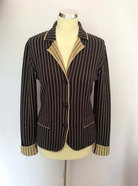 BETTY BARCLAY DARK BLUE & BEIGE PINSTRIPE KNIT JACKET SIZE 10/12 - Whispers Dress Agency - Womens Coats & Jackets - 1