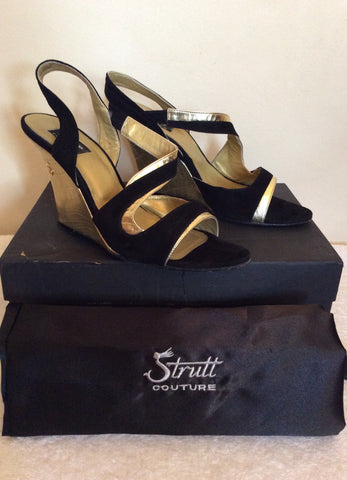 Strutt Couture Black & Gold Wedge Heel Sandals Size 6/39 - Whispers Dress Agency - Womens Wedges - 1