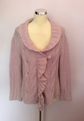 Zucchero Lilac Cable Knit Zip Front Cardigan Size XL - Whispers Dress Agency - Womens Knitwear - 1