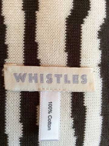 Whistles Dark Brown & Ivory Striped Long Scarf - Whispers Dress Agency - Womens Scarves & Wraps - 2