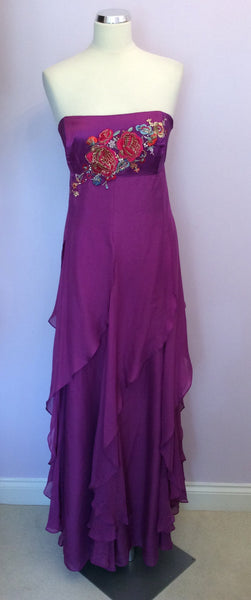 Monsoon Purple Silk Strapless Maxi Dress Size 18 - Whispers Dress Agency - Sold - 1