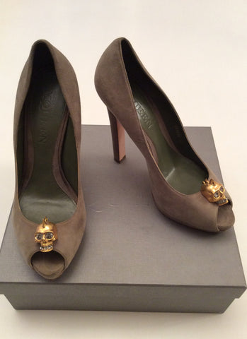 Alexander Mcqueen Olive Green Suede Skull Trim Heels Size 7.5/41 - Whispers Dress Agency - Womens Heels - 2
