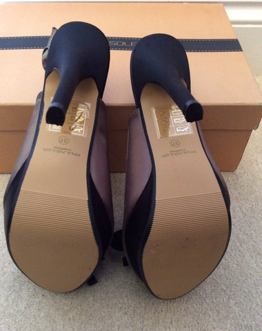Brand New Paula Soler Brown & Black Satin Slingback Heels Size 4/37 - Whispers Dress Agency - Womens Heels - 6