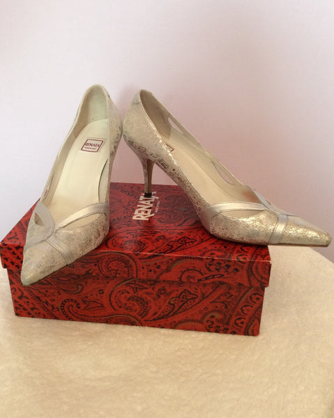 Renata Silver Leather Heeled Court Shoes Size 6.5/39.5 - Whispers Dress Agency - Womens Heels - 1