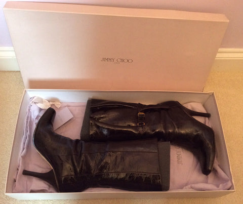 Jimmy Choo Brown Crushed Patent Leather Calf Length Boots Size 5.5 /38.5 - Whispers Dress Agency - Womens Boots - 6