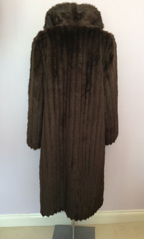Astraka Dark Brown Faux Fur Coat Size M Approx. - Whispers Dress Agency - Womens Coats & Jackets - 4