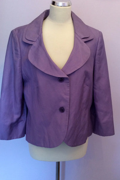 Country Casuals Purple Linen Blend Jacket Size 16 - Whispers Dress Agency - Sold - 1