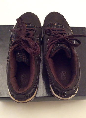 Brand New Dolce & Gabanna Brown Check Lace Up Plimsols Size 7.5/42 - Whispers Dress Agency - Sold - 3