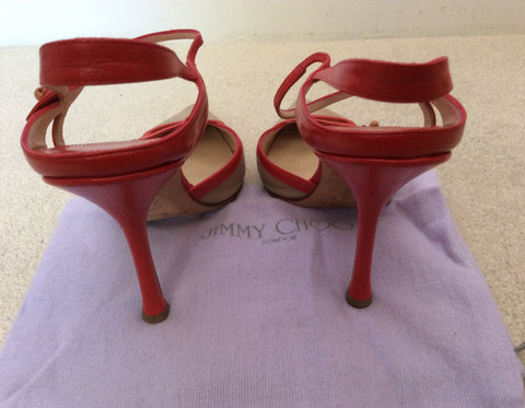 Jimmy Choo Red Leather & Beige Canvas Strappy Heels Size 5/38 - Whispers Dress Agency - Sold - 5