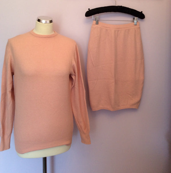 Vintage United Colours Of Benetton Pale Pink Jumper & Skirt Suit Size M - Whispers Dress Agency - Sold - 1