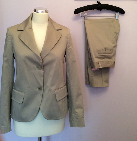 NICOLE FARHI BEIGE COTTON CROP TROUSER SUIT SIZE 10 - Whispers Dress Agency - Womens Suits & Tailoring - 1