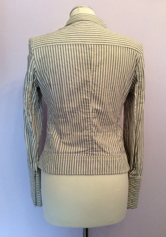 All Saints Blue & Ivory Pinstripe Cotton Jacket Size 10 - Whispers Dress Agency - Womens Coats & Jackets - 4